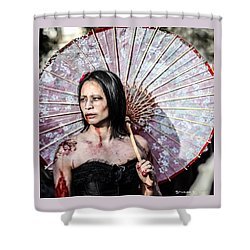 Shower Curtain featuring the photograph An Asian Zombie by Stwayne Keubrick