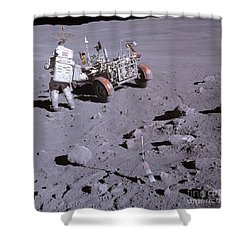 An Astronaut And A Lunar Roving Vehicle Shower Curtain by Stocktrek Images