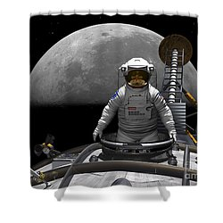 An Astronaut Takes A Last Look At Earth Shower Curtain by Walter Myers