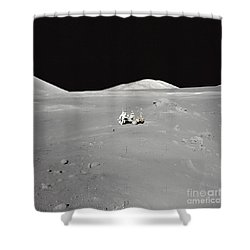 An Astronaut Working At The Lunar Shower Curtain by Stocktrek Images