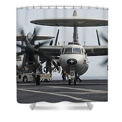 An E-2c Hawkeye Aircraft On The Flight Shower Curtain by Stocktrek Images