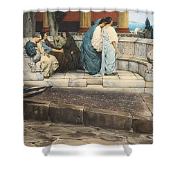 An Exedra Shower Curtain by Sir Lawrence Alma-Tadema