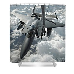 An F-15 E Strike Eagle Receives Fuel Shower Curtain by Stocktrek Images