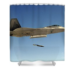 An F-22a Raptor Drops A Gbu-32 Bomb Shower Curtain by Stocktrek Images