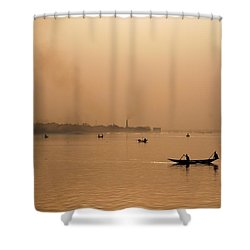 An Industrial Sunset Shower Curtain by Fotosas Photography