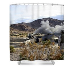 An M198 Howitzer Fires A 155-millimeter Shower Curtain by Stocktrek Images