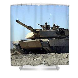 An M1a1 Main Battle Tank Shower Curtain by Stocktrek Images