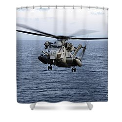 An Mh-53e Sea Dragon In Flight Shower Curtain by Stocktrek Images