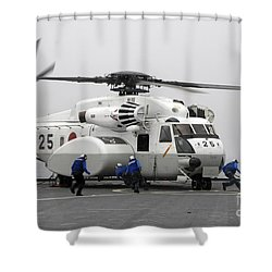 An Mh-53e Super Stallion Helicopter Shower Curtain by Stocktrek Images