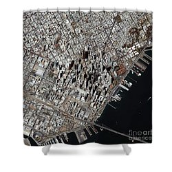 An Oblique-angle View Of San Franciscos Shower Curtain by Stocktrek Images