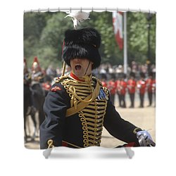 An Officer Shouts Commands Shower Curtain by Andrew Chittock