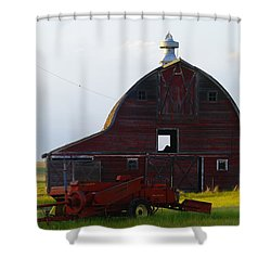 an old barn and bailor in Eastern Montana Shower Curtain by Jeff Swan