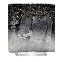An Old Cemetery With Grave Stones And Fog Shower Curtain by Joana Kruse
