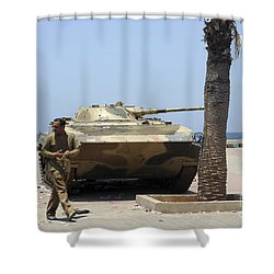 An Old Russian Bmp Armored Personnel Shower Curtain by Andrew Chittock