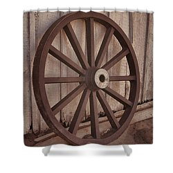 An Old Wagon Wheel Shower Curtain