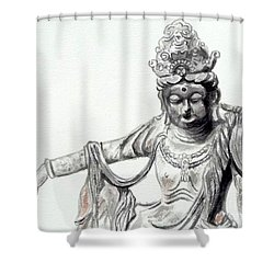 Shower Curtain featuring the painting An Oriental Statue At Toledo Art Museum - Ohio- 2 by Yoshiko Mishina
