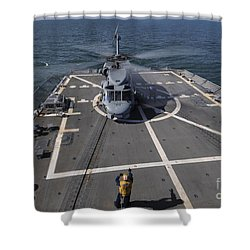 An Sh-60b Sea Hawk Lands On The Flight Shower Curtain by Stocktrek Images