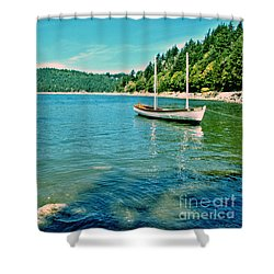 Anchored In Bay Shower Curtain by Michelle Joseph-Long