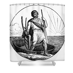 Ancient Briton Coracle Shower Curtain by Granger