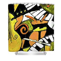 And All That Jazz Orange Shower Curtain by Wayne Potrafka