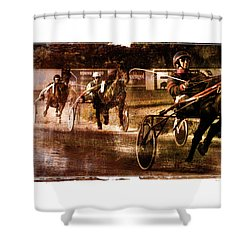 Shower Curtain featuring the photograph and the winner is - A vintage processed Menorca trotting race by Pedro Cardona