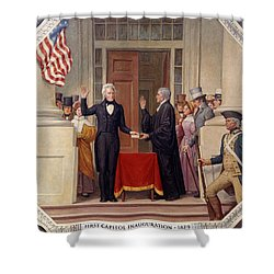 Shower Curtain featuring the photograph Andrew Jackson At The First Capitol Inauguration - C 1829 by International  Images