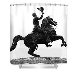 Andrew Jackson Statue Jackson Square French Quarter New Orleans Glowing Edges Digital Art Shower Curtain by Shawn O'Brien