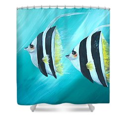 Shower Curtain featuring the painting Angel Fish by Bernadette Krupa