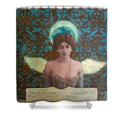 Angel In Blue Shower Curtain by Desiree Paquette