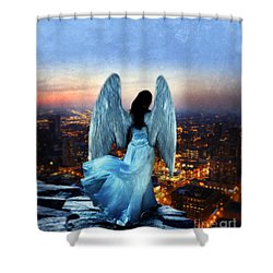 Angel On Rocky Ledge Above City At Night Shower Curtain by Jill Battaglia