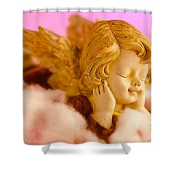 Angel Resting On Clouds And Enjoying The Sun Shower Curtain by U Schade