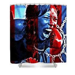 Shower Curtain featuring the photograph Anger In Red And Blue by Alice Gipson