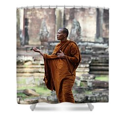 Shower Curtain featuring the photograph Angkor Wat Monk by Nola Lee Kelsey