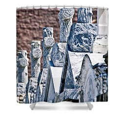 Angled Heahstones Shower Curtain by Ray Laskowitz