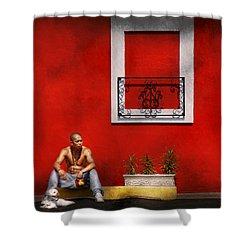 Animal - Dog - Think Alike  Shower Curtain by Mike Savad