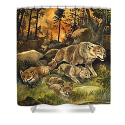 Animals United In Terror As They Flee From A Forest Fire Shower Curtain by G W Backhouse
