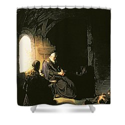 Anna And The Blind Tobit Shower Curtain by Rembrandt Harmensz van Rijn