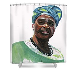 Anne Marie Nzie Shower Curtain by Emmanuel Baliyanga
