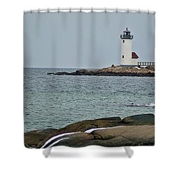 Annisquam Lighthouse Shower Curtain by Joe Faherty