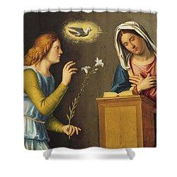 Annunciation To The Virgin Shower Curtain by Giovanni Battista Cima da Conegliano