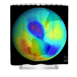 Antarctic Ozone Hole, September 2002 Shower Curtain by NASA / Science Source