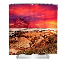 Anthony Boy Waiting Out The Storm Shower Curtain by Joyce Dickens