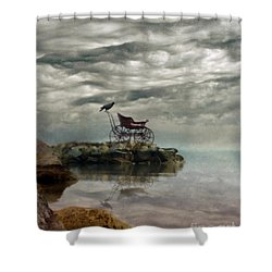 Antique Baby Buggy By The Sea Shower Curtain by Jill Battaglia