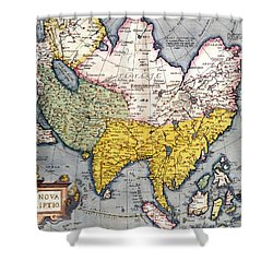 Antique Map Of Asia Shower Curtain by Claes Jansz