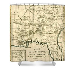 Antique Map Of Louisiana And Florida Shower Curtain by Guillaume Raynal
