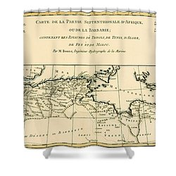 Antique Map Of North Africa Shower Curtain by Guillaume Raynal