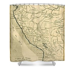 Antique Map Of Peru Shower Curtain by Guillaume Raynal