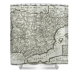 Antique Map Of Spain And Portugal Shower Curtain by Hermann Moll