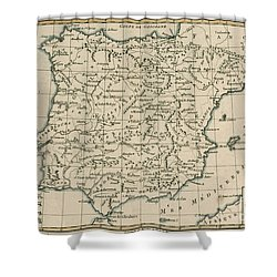 Antique Map Of Spain Shower Curtain by Guillaume Raynal
