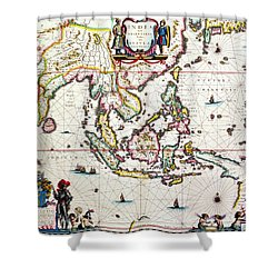 Antique Map Showing Southeast Asia And The East Indies Shower Curtain by Willem Blaeu